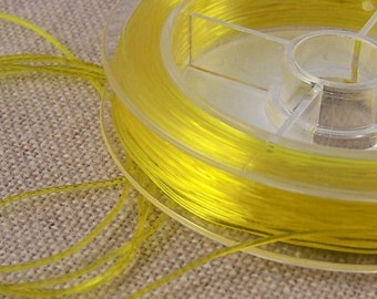 Stretch Cord for Jewelry - Golden Lemon Yellow Rubber Elastic Floss - Necklace String Findings or Crafts DIY - 3' / 1 Yard / 3 Feet  - .8mm