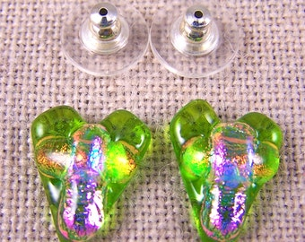 """Cross in Heart Dichroic Fused Glass Post Earring- Lime Green with Opal Pink & Peach Orange Layers - 1/2"""" 12mm"""