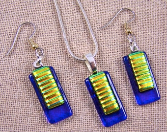 Dichroic Dangle Earrings & Pendant SET - Yellow Gold Green with Sapphire Cobalt Blue Window Fused Glass - Surgical Steel French Wire