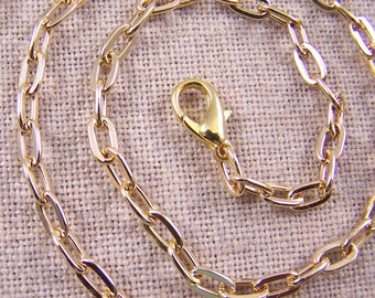 "Necklace Cable Chain (Drawn Flattened) - 4.8mm (1/4"" links) - GOLD Plate Lobster Claw Clasp - 16"" 18"" 20"" 24"" Available"