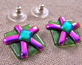 "Dichroic Earrings FLOWERS Fused Glass Post or Clip-on - Magenta Pink Flower & Lime Green - 5/8"" 16mm"