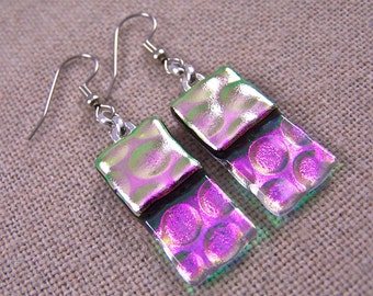 Dichroic Dangle Earrings - Magenta Pink with Clear  - Reverse Radium Bubbles Fused Glass- Surgical Steel French Wire or Clip On