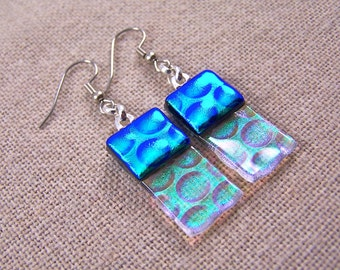 Dichroic Dangle Earrings - Teal Green with Clear  - Reverse Radium Bubbles Fused Glass- Surgical Steel French Wire or Clip On