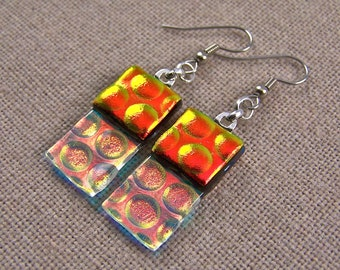 Dichroic Dangle Earrings - Copper Orange with Clear  - Reverse Radium Bubbles Fused Glass- Surgical Steel French Wire or Clip On