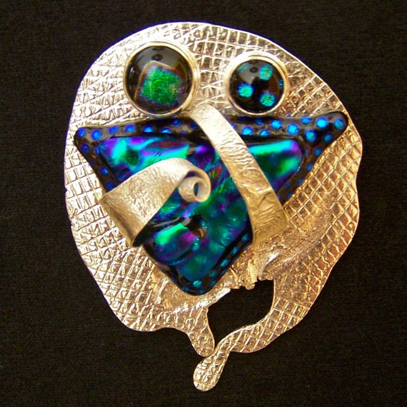 Dichroic Sterling Ingot Pin AND Pendant - Green Teal Emerald Ripples and Dots - Screen Roll Printed