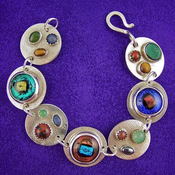 Dichroic Sterling Bracelet & Natural Stones Silver Bezel Fuse Glass Blue Green Copper Tigereye