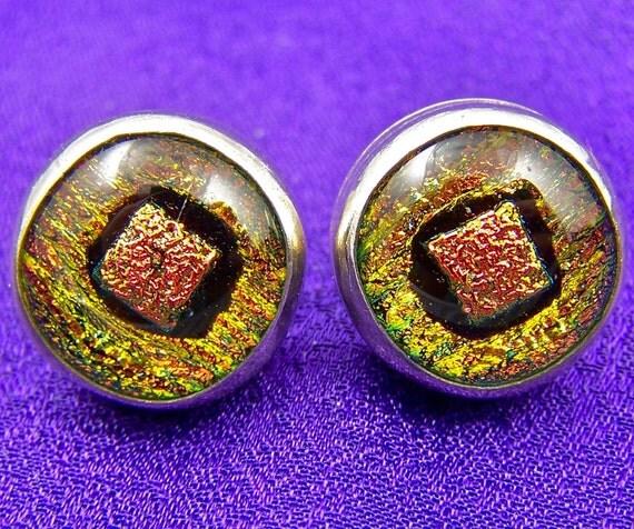 "Dichroic Earrings Golden Copper Sterling Silver Bezel - Fused Glass 1/2"""