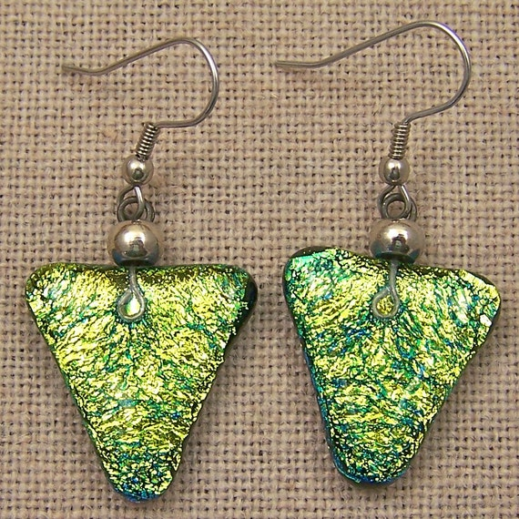 Earrings Golden Triangle Dichroic Fused Glass Dangle or Clip Ons - Surgical Steel Ear Wire