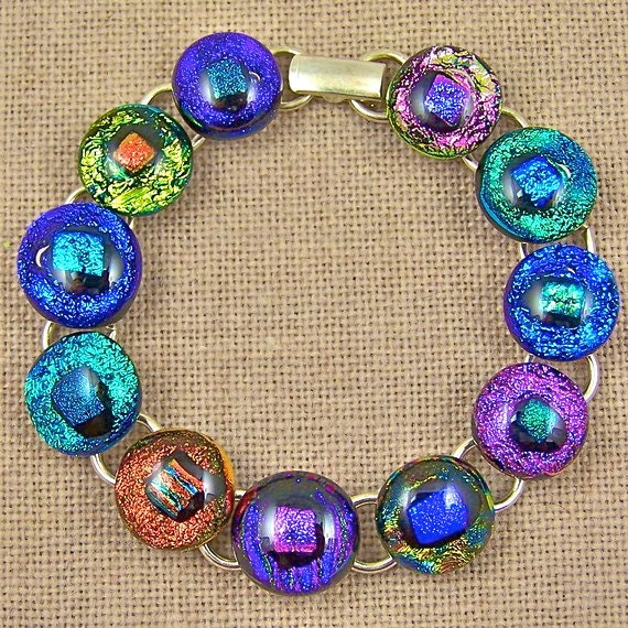 """Dichroic Glass & STERLING Silver Link Bracelet - Bright Rainbow Dots Fused - 1/2"""" 12mm Blue Pink Purple Green"""