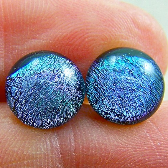 """Tiny Dichroic Studs Post Earrings - 1/4"""" - Fused Glass Mauve Olive Gray Silver-ish - 6mm 7mm Stud Posts Dots"""
