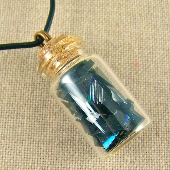 Dichroic Shard BOTTLE Pendant - Confetti Black Glass Crystals Shards Chips - FREE Cord or Chain