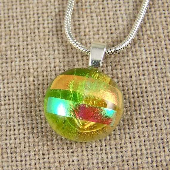 """Dichroic Pendant - Lime Green Amber Peach Layered Fused Glass - Round Rock Drop 5/8"""""""