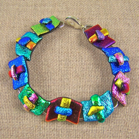 """Dichroic Bracelet - Copper Red Blue Gold Pink Teal & Green Fused Glass - Crinkle Squiggle - 12mm 1/2"""""""