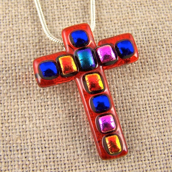 Mosaic Dichroic Cross Pendant & Brooch Pin - Rainbow Ruby Red Hot Cayenne Blood Orange Fused Glass