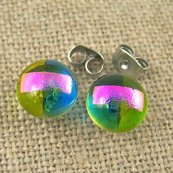 """Tiny Dichroic Post Stud Earrings - 1/4"""" 7mm 8mm - Lime Green Pink Marine Blue - Rock Drop Candy Studs Dots"""
