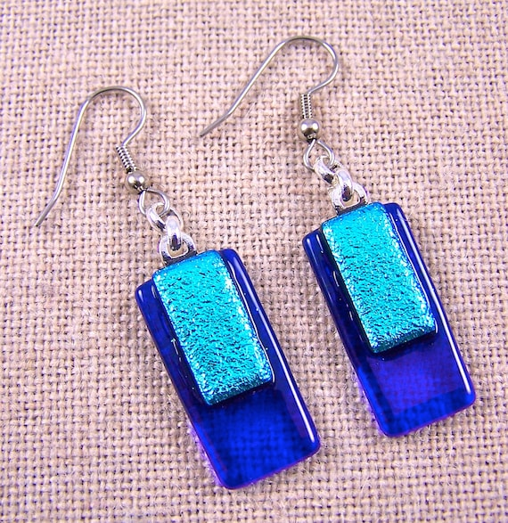 Dichroic Dangle Earrings - Sapphire Cobalt Blue & Teal Silver Blue Fused Glass - Surgical Steel French Wire or Clip On