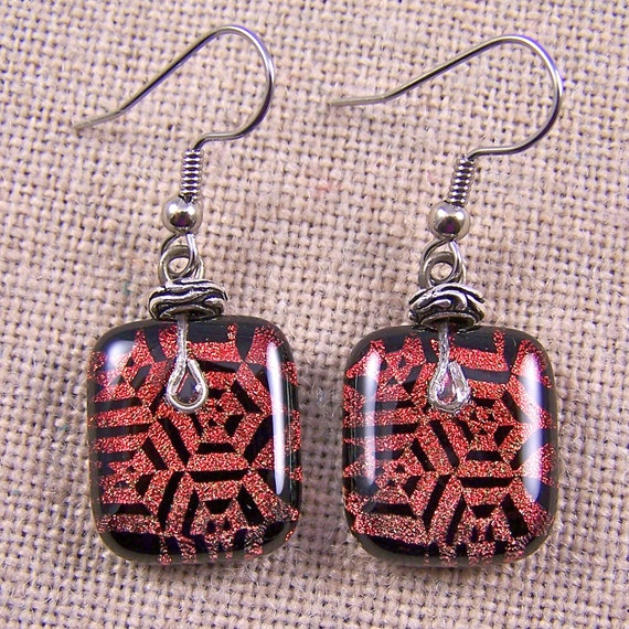 """Mosaic Dichroic Dangle Earrings - Rusty Red Copper Orange Black Lace Web Patterned Fused Glass - 3/4"""", 2Cm 20mm Surgical Steel Wire or Clips"""