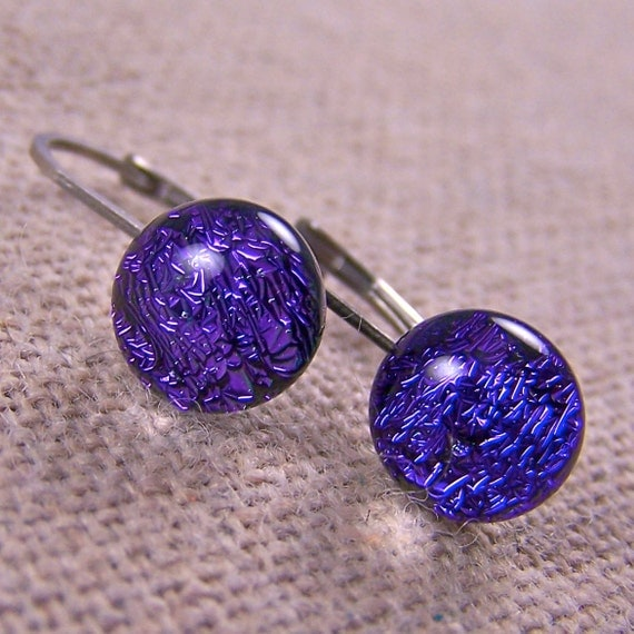 """Dichroic Tiny Lever Surgical EUROWIRE Earrings - 1/4"""" 6mm 7mm - Purple Violet Amethyst Fused Glass"""