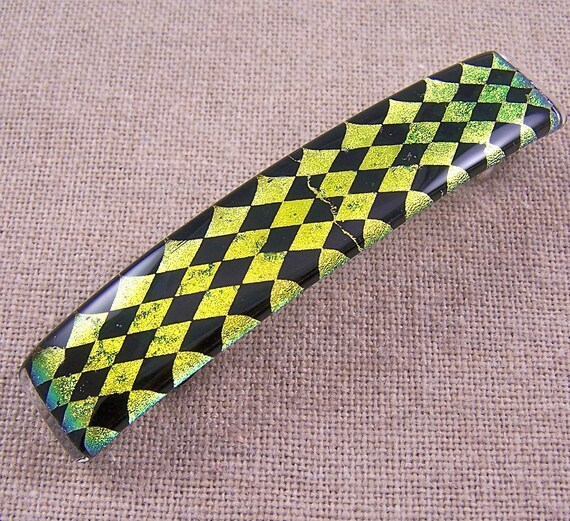"Dichroic Barrette - Golden Gold Yellow Black Harlequin Diamonds Patterned Fused Glass - 3.5""  9cm"