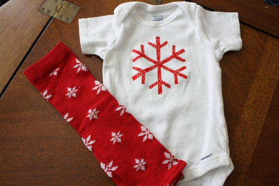 Snowflake Onesie with Red and White Snowflake Leggings