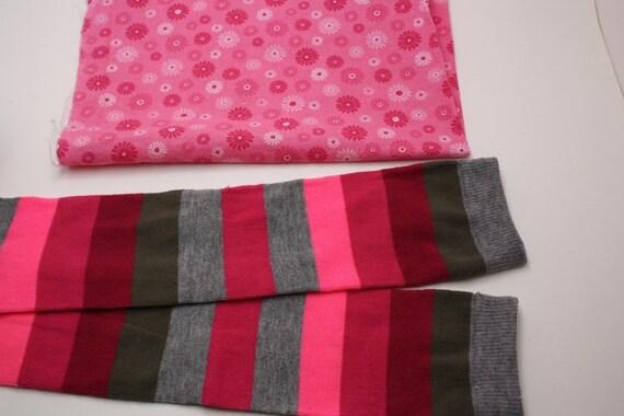 Custom Onesie and Pink and Grey Stripe Leggings