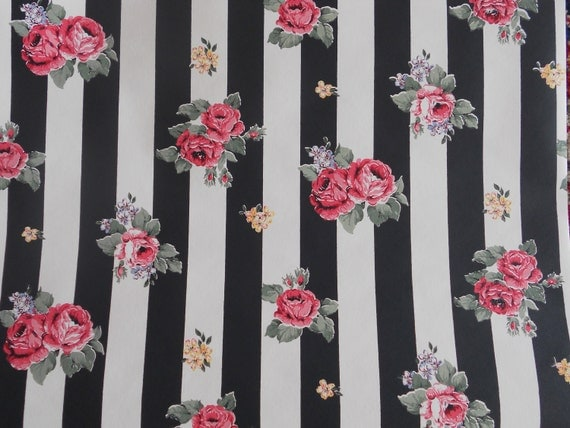 Black and White Stripe with Floral on Top Wallpaper Roll