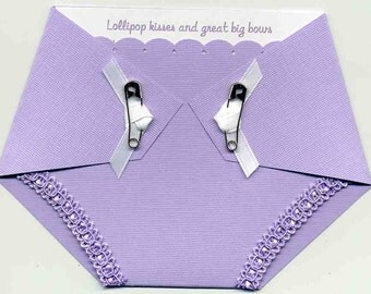 Diaper Baby Shower Invitation Purple - Girls Baby Shower - Diaper Shaped Invitations