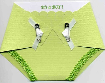 Diaper Party Invitation - Baby Shower Invitation - Diaper Shaped Invitations - Boy Shower - Gender Neutral - Green