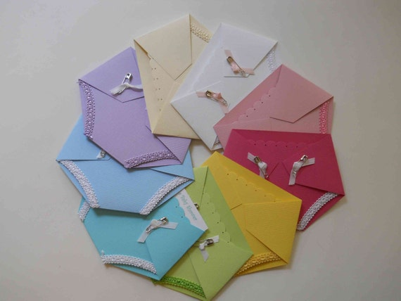 5 baby shower invitations diaper shaped
