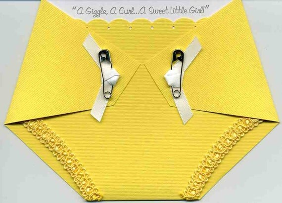 Baby Shower Invitation - Yellow Diaper Shaped