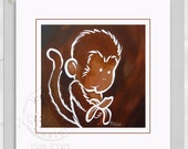 Digital Zoo Jungle Monkey 12 in x 12 in Frameable Wall Art for Kids Baby Nursery Bedroom - Download Immediately