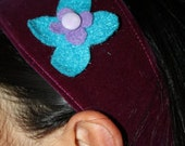 Girl's Plum Velvet Hairband with Teal Blue and Purple felt flower and Vintage Button