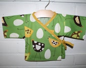 Baby Kimono Jacket - Size Newborn - 12months - Green with whimsical chickens and eggs