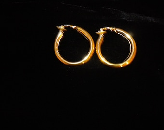 Vintage Trifari Gold Hoop Earrings