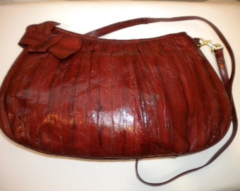 Burgundy  80's Eel  Clutch.