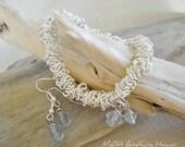 Ice Blue Handmade Bracelet and Earrings