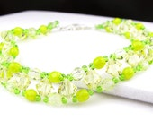 Lemon Lime Right Angle Weave Crystal Bracelet