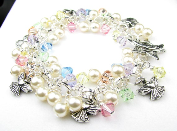 Pastel Angel Crystal Charm Bracelet Free Shipping