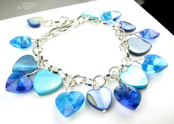 Chunky Blue Heart Crystal Charm Bracelet