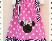 Zebra and Pink Minnie Mouse Pillowcase Dress