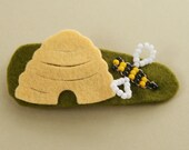 Beehive Beaded Hair Clip, Wool Felt
