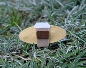 Coffee Hair Clip, Wool Felt, To Go Coffee Cup, Brown Tan
