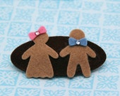 Gingerbread Man Barrette, Gingerbread Girl, Christmas Holiday Barrette, Brown