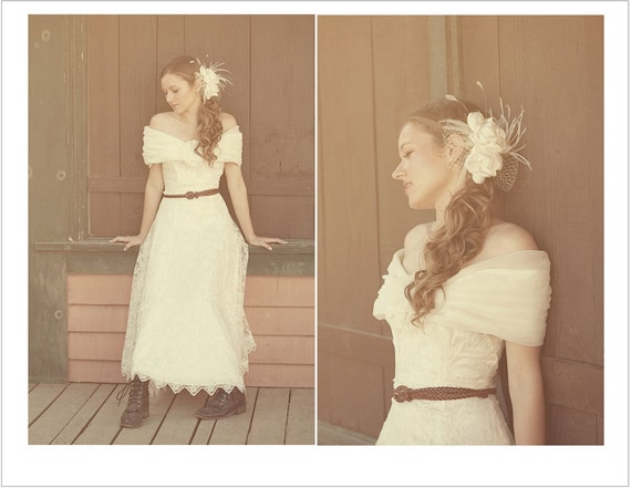 Vintage wedding gown dress long lace rustic