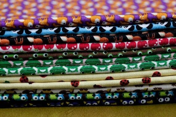Kawaii Japanese Fabrics Animals Owls Deers Frogs Apples Panda