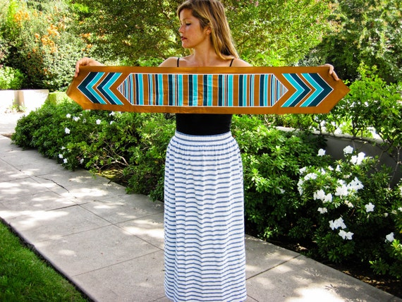 Taylor's 60s camel turquoise and deep teal stripe scarf