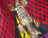 African Gold Weight Crocodile Necklace