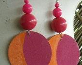 Fuschia and Tangerine Discs and Balls Earrings