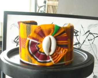 Kente and Cowrie Cuff Bracelet