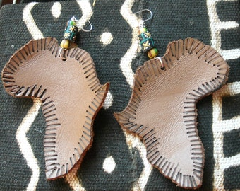 Leather Earrings- Embossed Africa